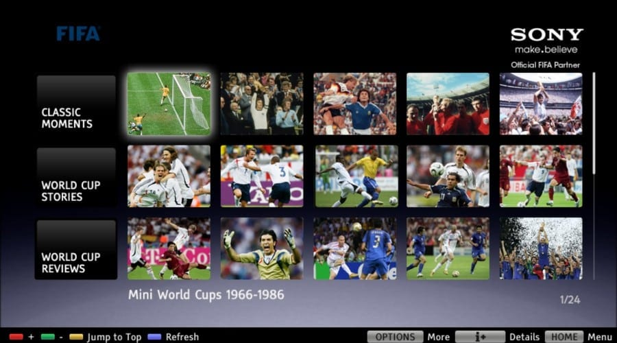 Colecţia FIFA pe televizoarele BRAVIA