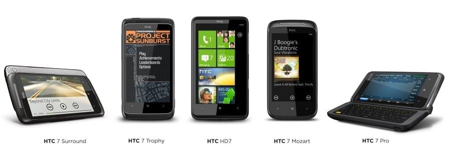 Cinci noi smartphone-uri HTC cu Windows Phone 7