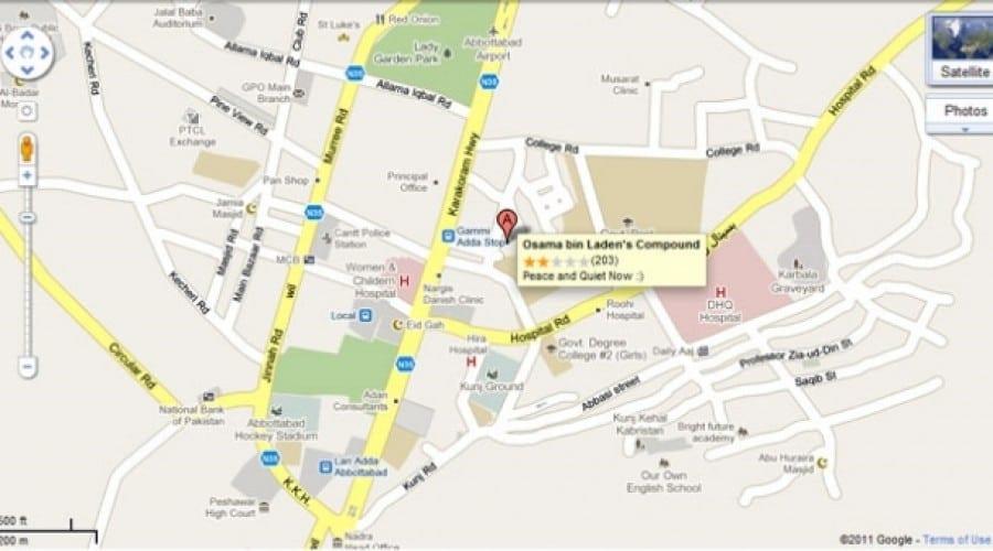Osama bin Laden, pe Google Maps