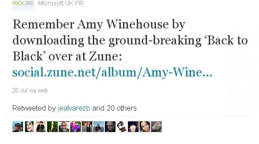 Microsoft primeşte critici dure pentru un tweet legat de Amy Winehouse