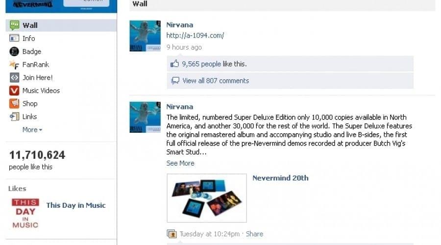 Facebook interzice, pentru o scurtă perioadă de timp, coperta albumului Nevermind de la Nirvana