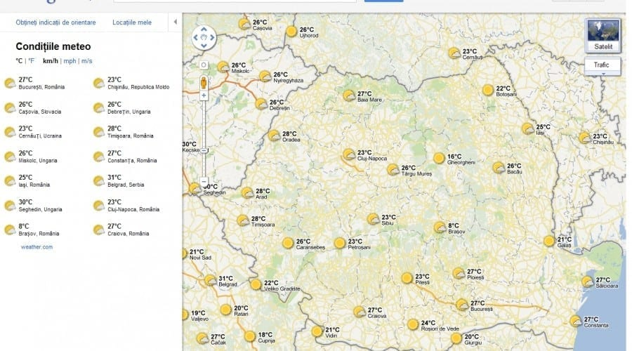 Google Maps îţi oferă prognoza meteo