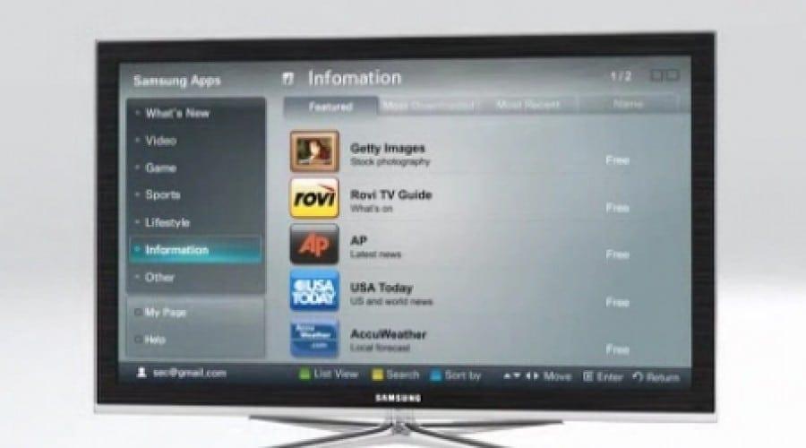 Peste 1000 de aplicaţii pentru TV în cadrul Samsung Apps