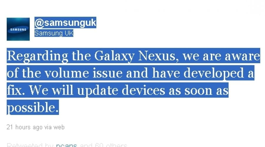 Samsung Galaxy Nexus: Samsung şi Google promit rezolvarea problemei de volum