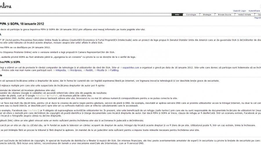 DEX online sprijină protestul anti-SOPA