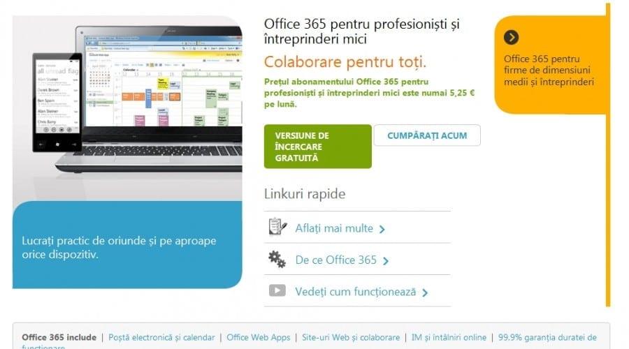 Ghid de înscriere în Office 365