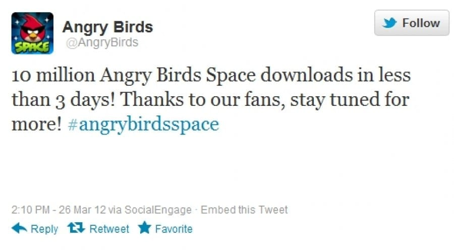 Angry Birds Space atinge 10 milioane de download-uri