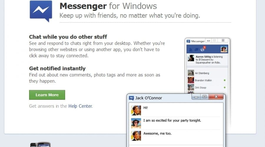 Facebook Messenger, acum şi pe Windows