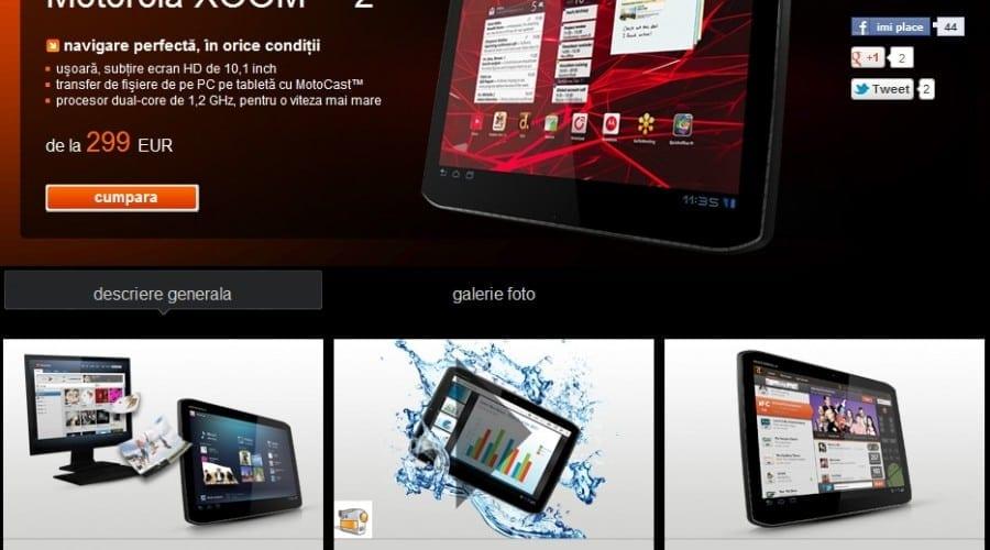 Motorola Xoom 2, disponibilă în România prin Orange