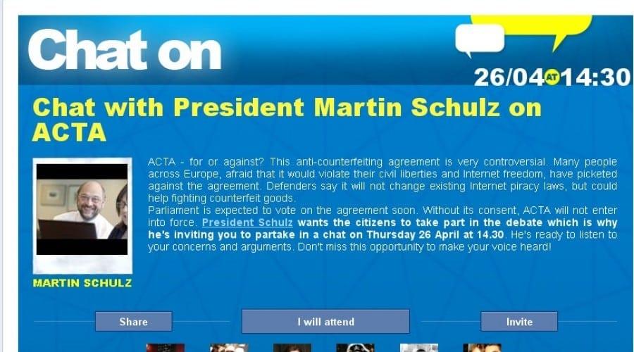 Eşi pro sau contra ACTA? Discută azi pe Facebook cu Preşedintele Parlamentului European