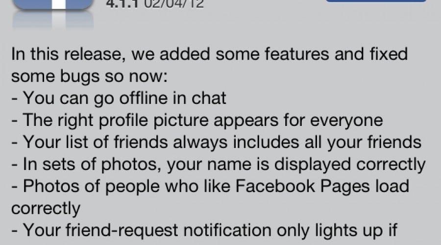 Facebook vine cu noi funcţii şi bug fix-uri odată cu noul update