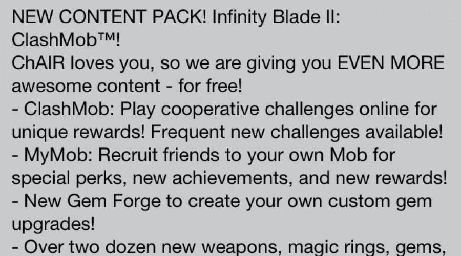 Infinity Blade II: Noul update aduce arme, echipament şi modul ClashMob
