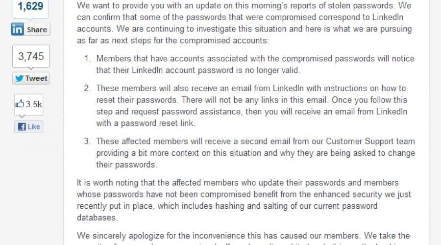 Atac la LinkedIn: Aproximativ 6.5 milioane de parole au fost furate
