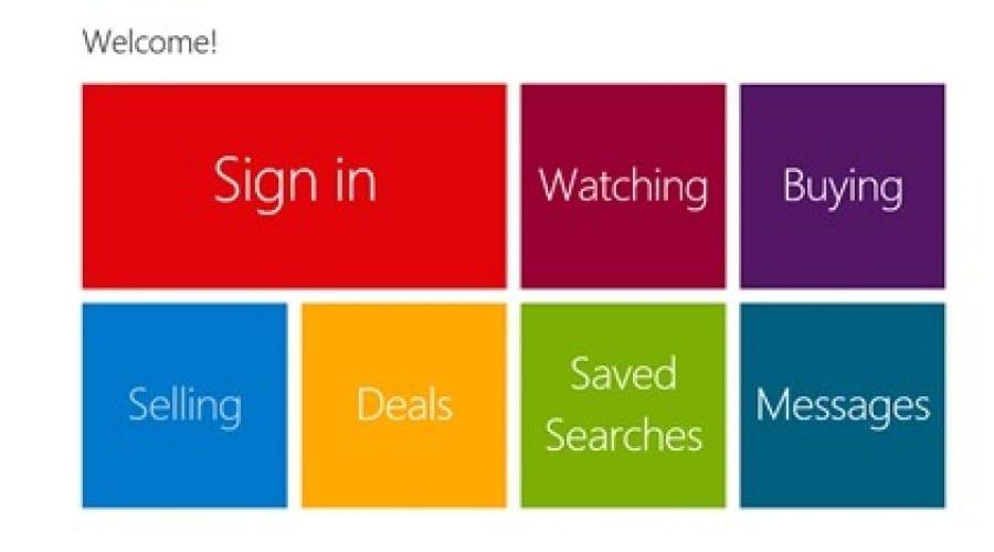 eBay în Windows Store, cu un design Metro