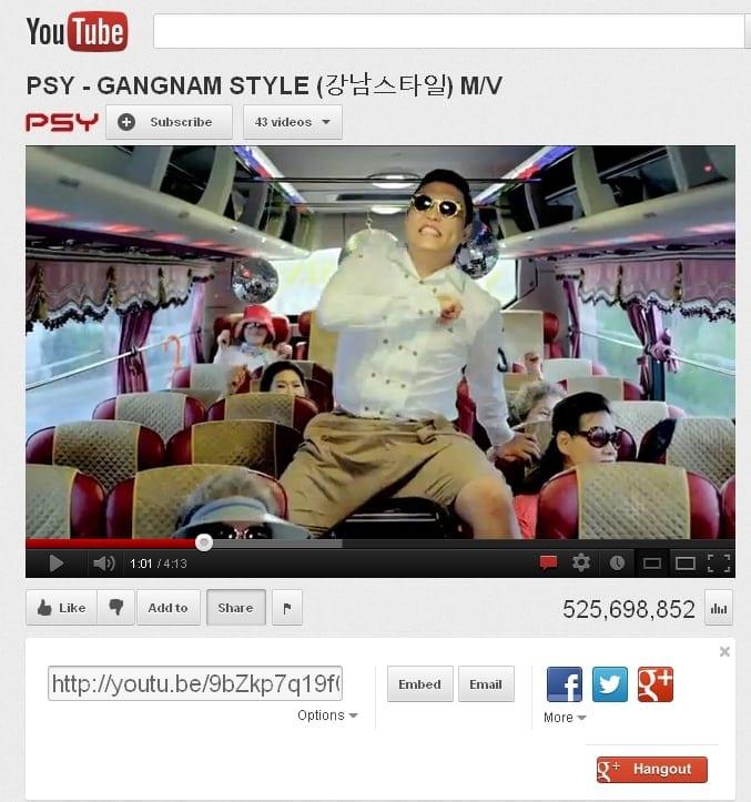 Gangnam Style va ajunge la 1 miliard de vizualizări pe Youtube înainte de Crăciun