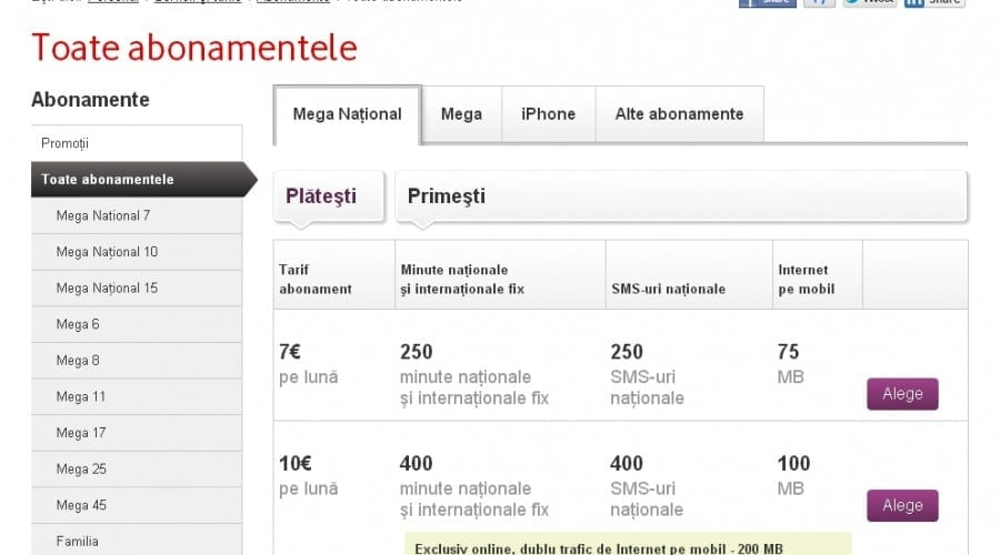 Abonamentele Vodafone Mega National, exclusiv cu minute naţionale fixe şi mobile