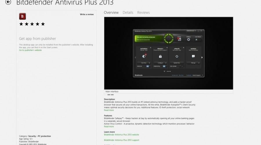 Bitdefender 2013, disponibil acum în Windows 8 Store
