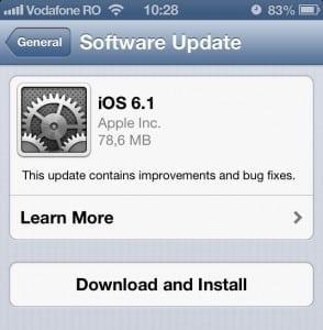 ios 6.1 294x300 iOS 6.1: Update ul extinde suportul LTE și repară mici bug uri