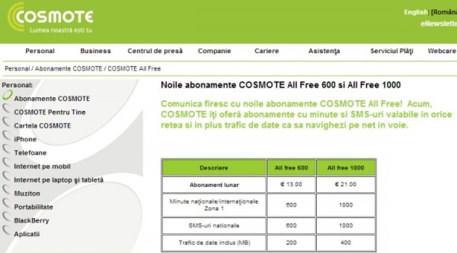 Cosmote All Free: Doua noi abonamente cu 600, respectiv 1000 minute nationale si internationale
