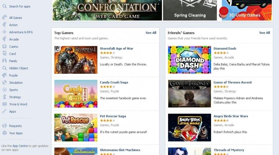 Facebook se bucură de un număr de peste 250 de milioane de gameri lunar