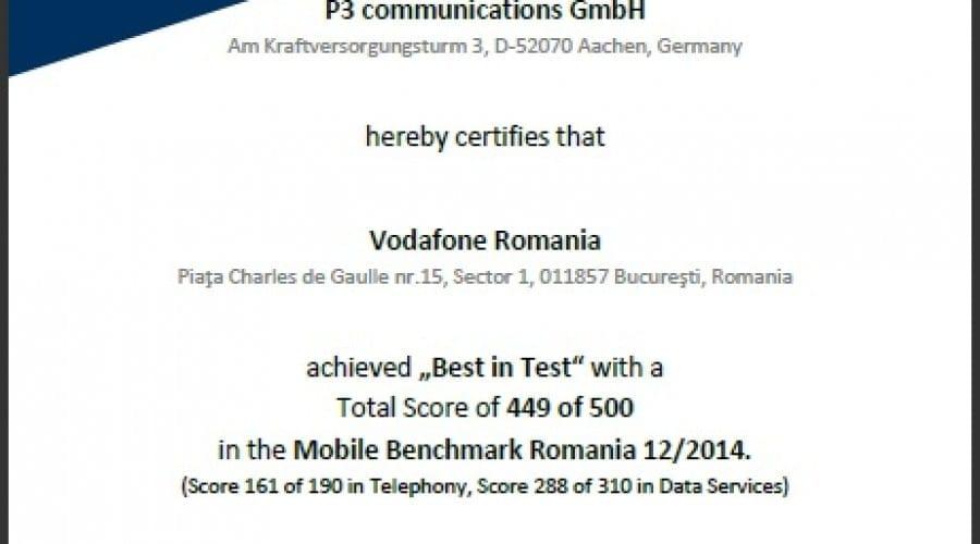 Vodafone, certificată pentru cel mai bun punctaj al serviciilor de date și telefonie mobilă din România