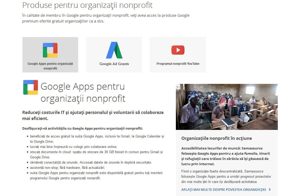 Google organizații nonprofit