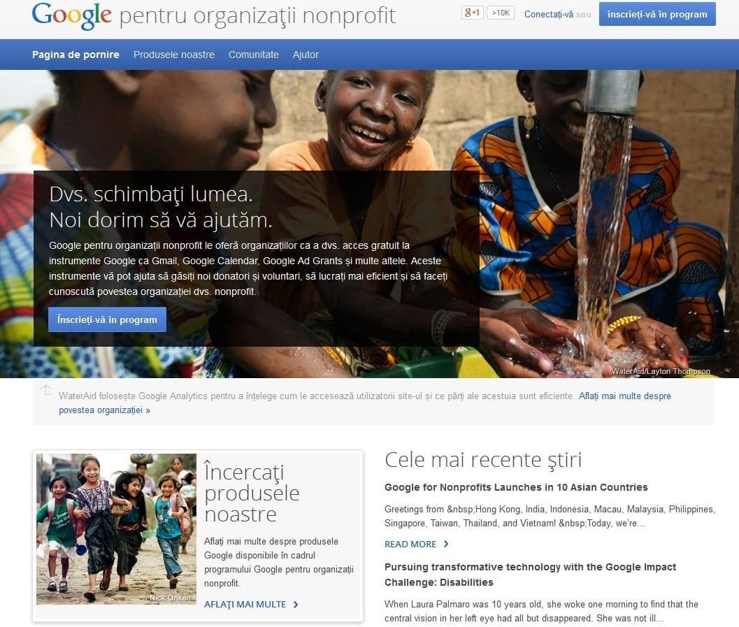 """Programul """"Google pentru organizații nonprofit"""" este disponibil și în România"""