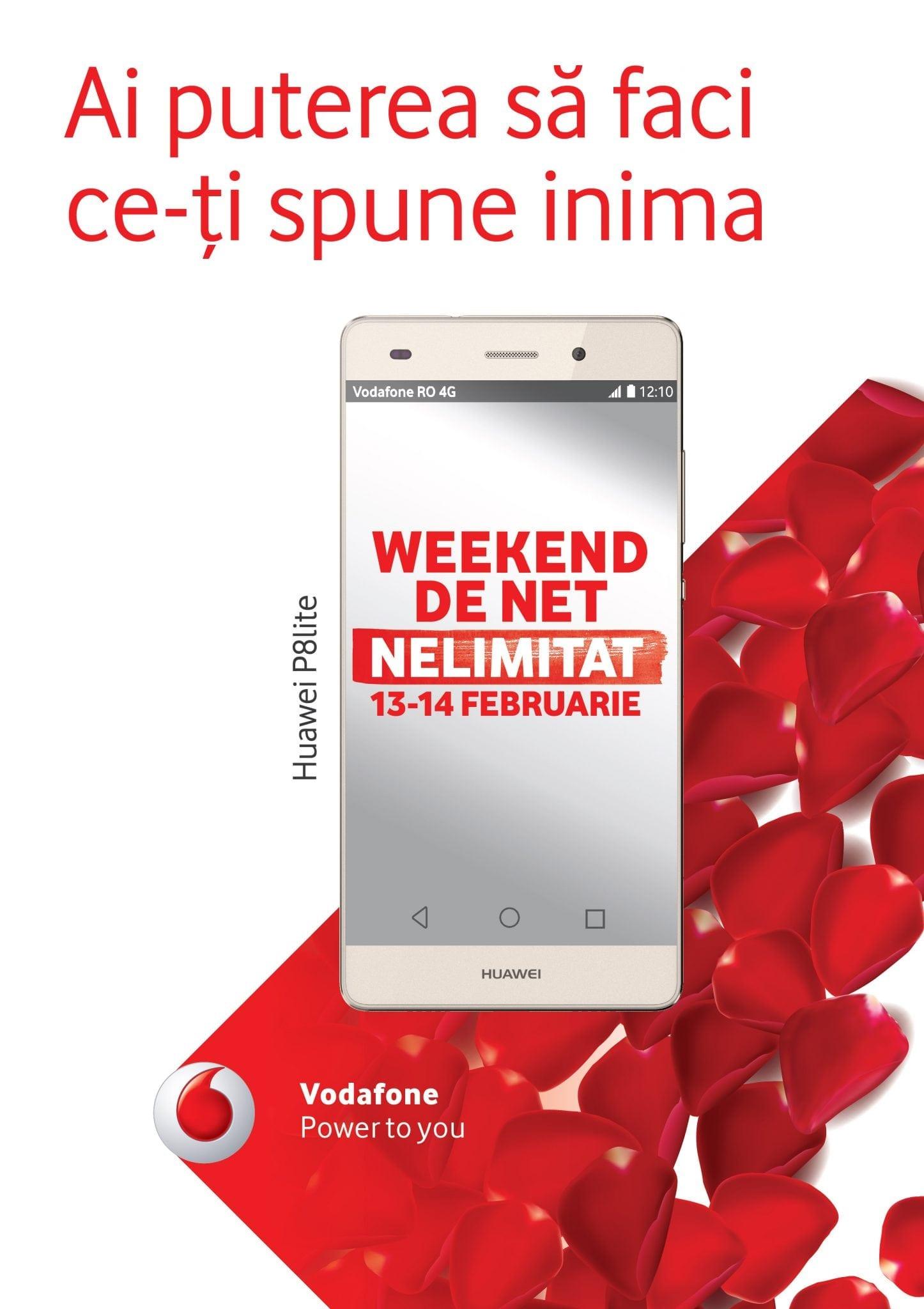 Vodafone oferă internet nelimitat gratuit, în weekend-ul 13 & 14 februarie, pentru toți utilizatorii de telefonie mobilă din România