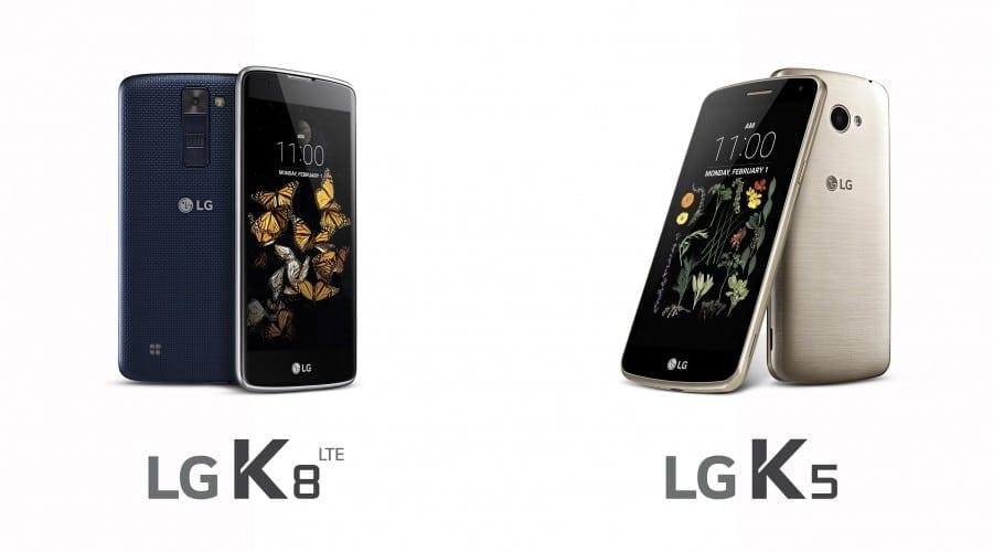 LG anunță smartphone-urile K8 și K5, două modele din clasa de mijloc