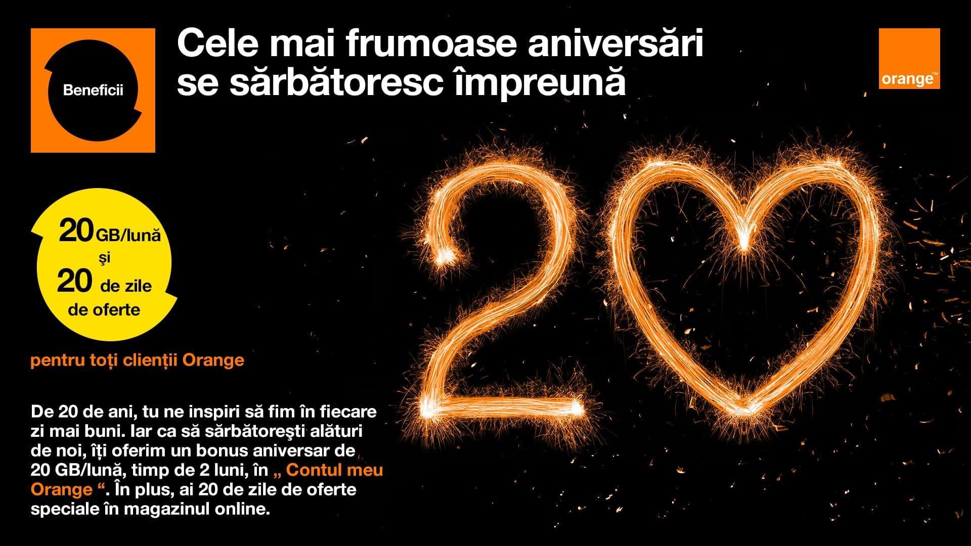 Orange sărbătorește 20 de ani și răsplătește loialitatea utilizatorilor 20 GB/lună, timp de 2 luni