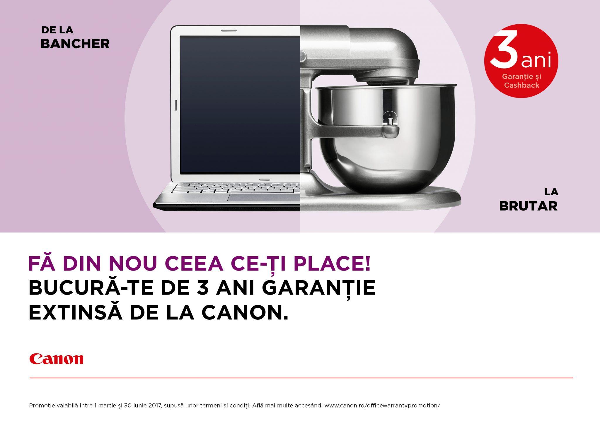 """Canon oferă sprijin antreprenorilor prin promoția """"Cashback plus 3 ani garanție"""""""