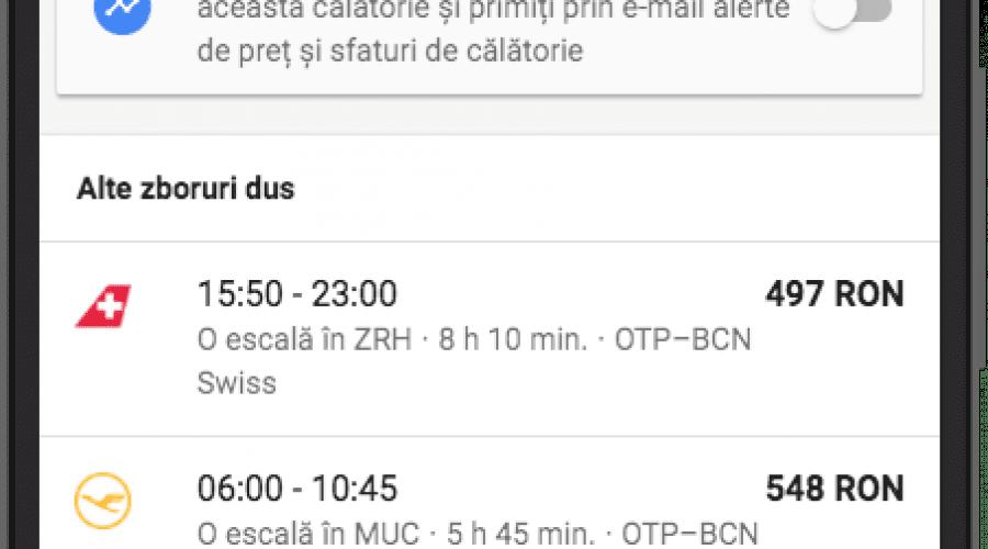 Google Flights și Destinations, cu interfață în română