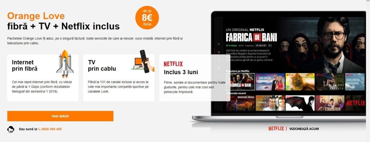 Orange Love vine cu 3 luni acces inclus la Netflix şi televizoare 4K în rate