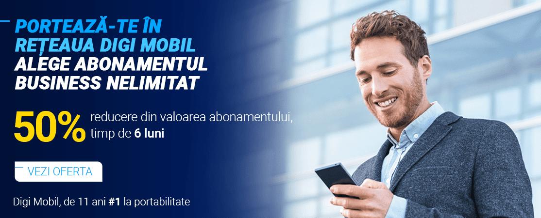 Digi Mobil oferă 50% discount pentru clienții corporate, timp de 6 luni, la portare