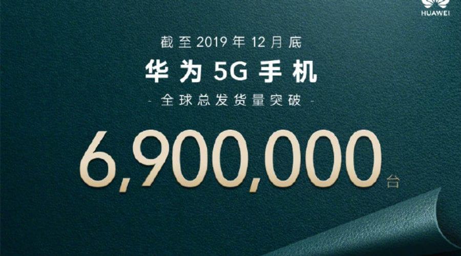 Huawei anunță livrări de 6,9 milioane de smartphone-uri 5G
