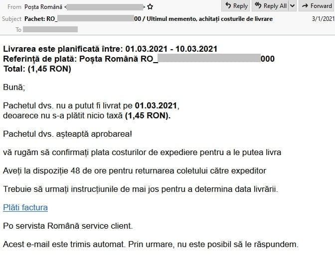 Tentativă de phishing Poșta Română